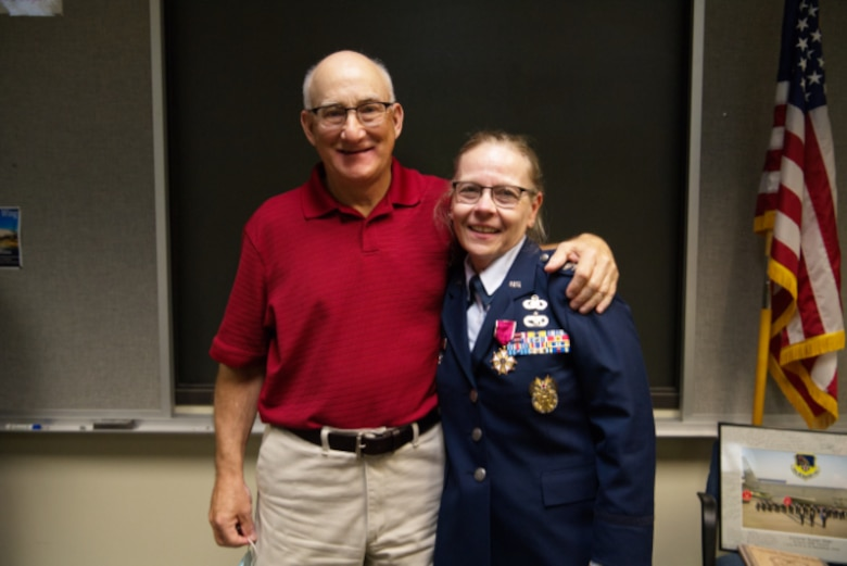 Col. Susan Maki, 434th Air Refueling Wing inspector general, poses for a photo with her husband Bob at Grissom Air Reserve Base, Ind., Sept. 12, 2020. Maki retired after 32 years of service in the Minnesota Air Guard and Air Force Reserve. (U.S. Air Force Photo / A1C Harrison Withrow)