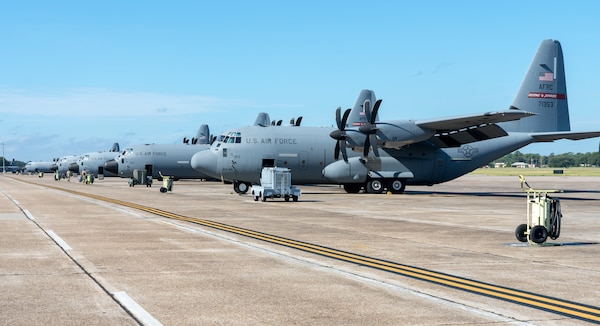 """The Air Force Reserve 403rd Wing began evacuating its aircraft due to the impending weather conditions Tropical Sally is forecasted to create Sept. 13, 2020. The 815th Airlift Squadron C-130J """"Flying Jennies"""" and the 53rd Weather Reconnaissance Squadron WC-130J """"Hurricane Hunters"""" relocated to Joint Base San Antonio and Ellington Airport, Texas. The 53rd WRS will continue to fly data collection missions to support the National Hurricane Center from Ellington."""