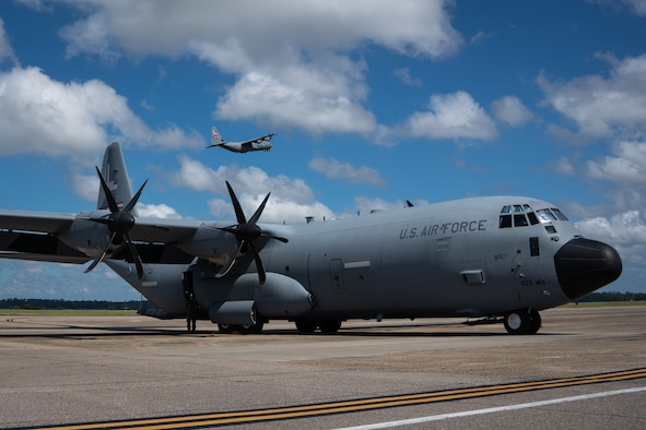 "The Air Force Reserve 403rd Wing began evacuating its aircraft due to the impending weather conditions Tropical Sally is forecasted to create Sept. 13, 2020. The 815th Airlift Squadron C-130J ""Flying Jennies"" and the 53rd Weather Reconnaissance Squadron WC-130J ""Hurricane Hunters"" relocated to Joint Base San Antonio and Ellington Airport, Texas. The 53rd WRS will continue to fly data collection missions to support the National Hurricane Center from Ellington."