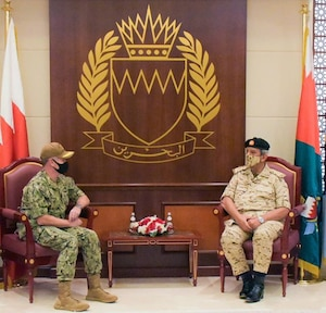 U.S. Naval Forces Central Command/5th Fleet/Combined Maritime Forces Commander Vice Adm. Samuel Paparo met with Bahrain Defence Force Commander-in-Chief Field Marshal Shaikh Khalifa bin Ahmad Al-Khalifa Sept. 14.