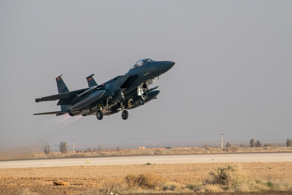 A U.S. Air Force F-15E Strike Eagle takes off from the 332d Air Expeditionary Wing February 13, 2020, at an undisclosed location in Southwest Asia. The F-15E is a maneuverable tactical fighter designed to allow the Air Force to establish air superiority over the battlefield. (U.S. Air Force photo by Staff Sgt. Alexandria Brun)