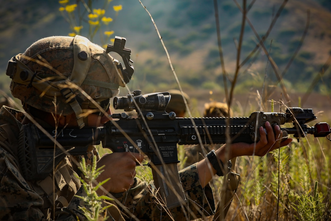A U.S. Marine engages a simulated enemy during a Marine Corps Combat Readiness Evaluation on Marine Corps Base Camp Pendleton, Calif., Aug. 12.