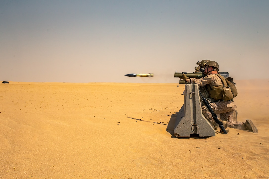 U.S. Marines fires an M72A7 Light Anti-Tank Weapon System during an anti-armor range in Kuwait, Sept. 3.