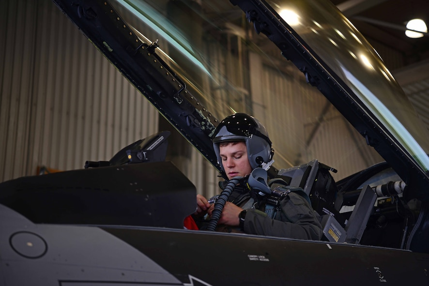 U.S. Air Force Capt. Daniel Simpson, an 18th Aggressor Squadron pilot, prepares for takeoff on Eielson Air Force Base, Alaska, Sept. 8, 2020. The mission of the 18th AGRS is to know, teach and replicate enemy tactics, techniques and procedures. Valiant Shield 20 provides an effective, flexible and capabilities centered force, enabling real-world proficiency in response to a variety of crises. (U.S. Air Force photo by Staff Sgt. Sean Martin)
