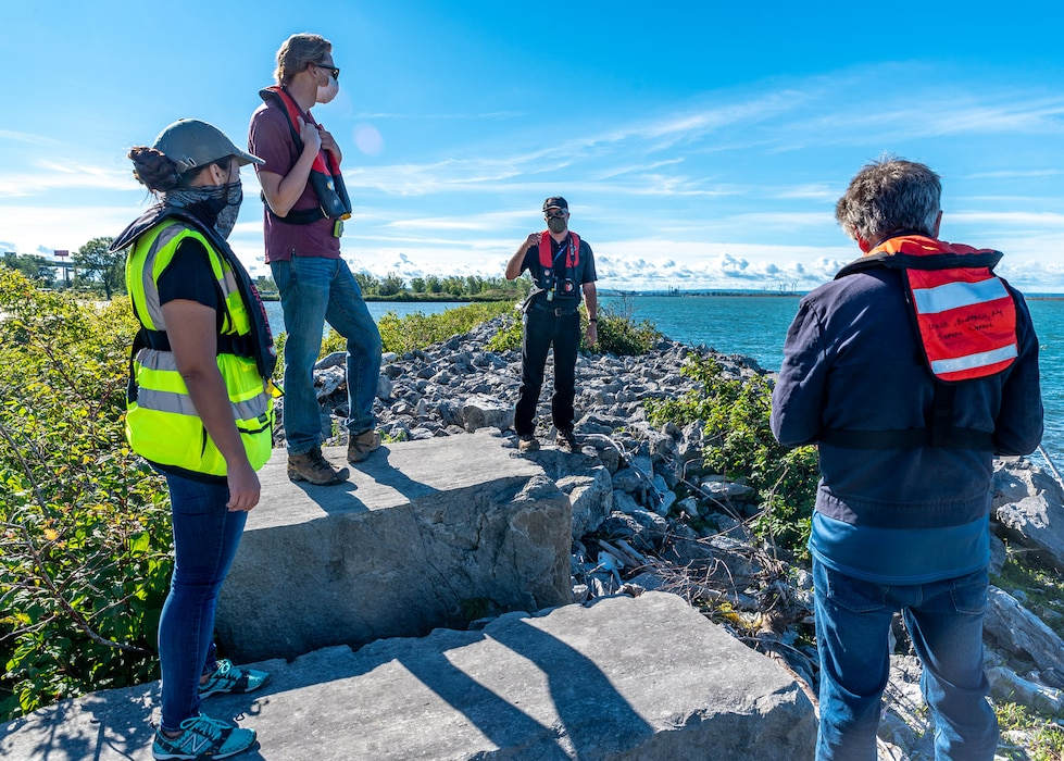 U.S. Army Corps of Engineers Buffalo District team members inspect the Times Beach Nature Preserve and former Times Beach confined disposal facility, Buffalo, NY, September 4, 2020.  In the 1970s, the Buffalo District constructed and placed dredged material into the CDF from the Buffalo Harbor. Over time, the structure has received wind and wave damage, and the primary risk from damage is contaminated sediments inside the structure releasing into Lake Erie.  If the team determines there is a design deficiency at the CDF, the District will pursue funding for future repair work.