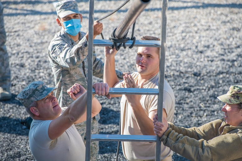 Reservists from the 419th Fighter Wing participate in an obstacle course Sept. 11, 2020, at Camp Williams, Utah.