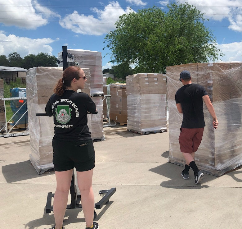 Army Reserve Soldiers support supply requirements in Texas as part of federal COVID-19 response