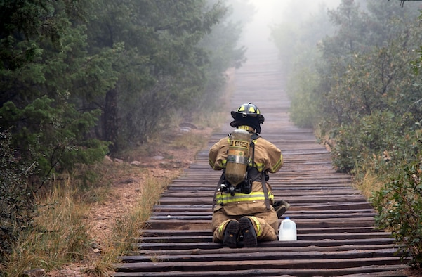 Front Range firefighters climb the Manitou Incline in full bunker gear in Manitou Springs on Sept. 11, 2020.