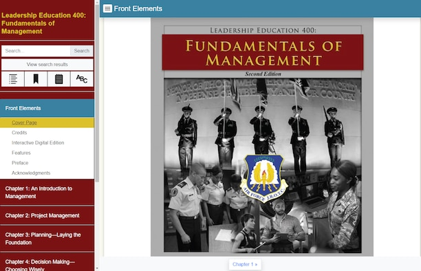 The Leadership Education 400: Fundamentals of Management user interface and cover page. The LE 400 is a part of Air Force Junior Reserve Officer Training Corps curriculum, and it is available to more than 125,000 cadets participating in the program around the world. (courtesy graphic)