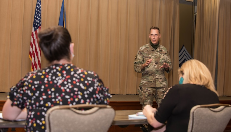 Col. Ryan Richardson, 56th Mission Support Group commander, answers questions during a town hall meeting Sept. 8, 2020, at Luke Air Force Base, Ariz.