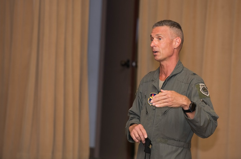 Brig. Gen. Gregory Kreuder, 56th Fighter Wing commander, answers questions during a town hall meeting Sept. 8, 2020, at Luke Air Force Base, Ariz.