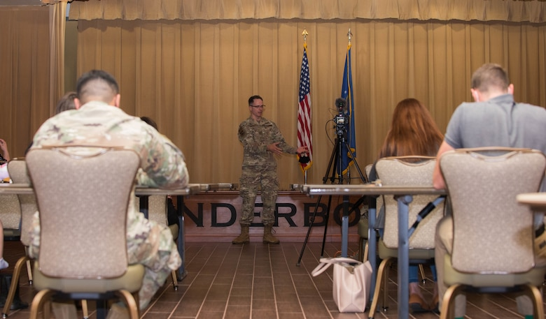 Col. Daniel Lamar, 56th Medical Group commander, answers questions during a town hall meeting Sept. 8, 2020, at Luke Air Force Base, Ariz.