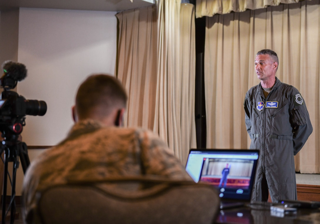 Brig. Gen. Gregory Kreuder, 56th Fighter Wing commander, speaks during a town hall meeting for spouses Sept. 10, 2020, at Luke Air Force Base, Ariz.
