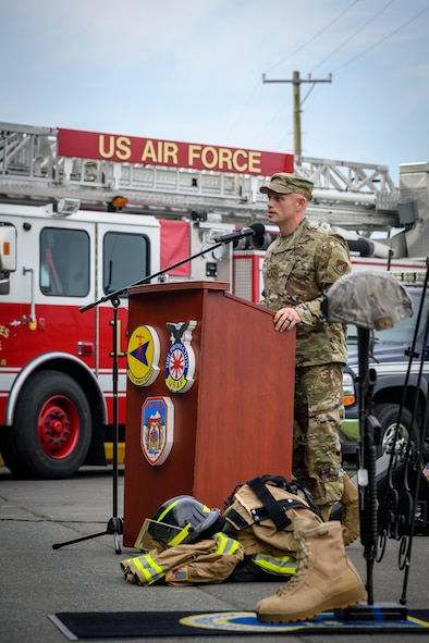 U.S. Air Force Chief Master Sgt. Joey R. Meininger, the 35th Fighter Wing command chief, makes the closing remarks during the ceremony at Misawa Air Base, Japan, Sept. 11, 2020. A remembrance ceremony was held to commemorate the 19th anniversary of the Sept. 11, 2001 terrorist attacks that claimed the lives of approximately 3,000 innocent people. (U.S. Air Force photo by Airman 1st Class China M. Shock)