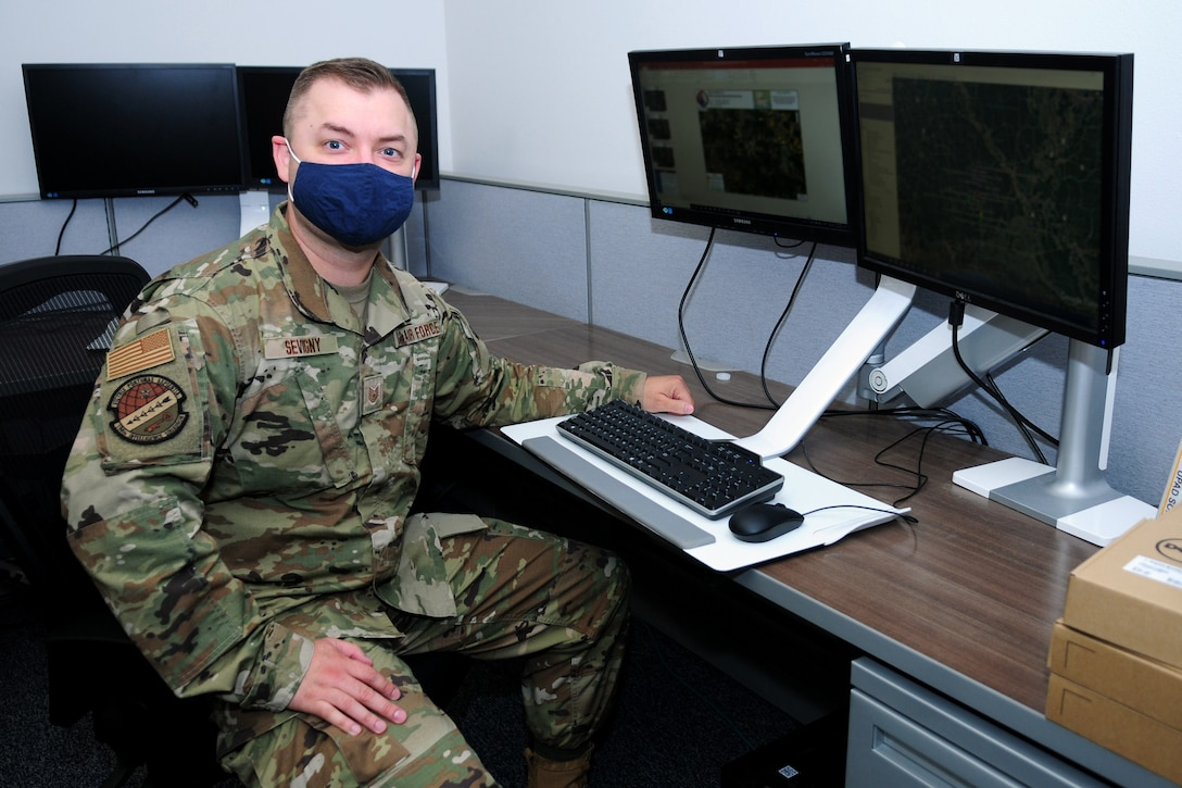 Staff Sgt. Daniel Sevigny, a geospatial intelligence analyst for the Washington Air National Guard's 194th Intelligence Squadron, serves in a domestic operations role in support of the Louisiana, assessing damage following Hurricane Laura.