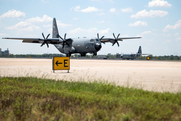 U.S. Air Force C-130Js from the 403rd Wing, Keesler Air Force Base, Mississippi, arrive Sept. 13, 2020, at Joint Base San Antonio-Lackland, Texas.