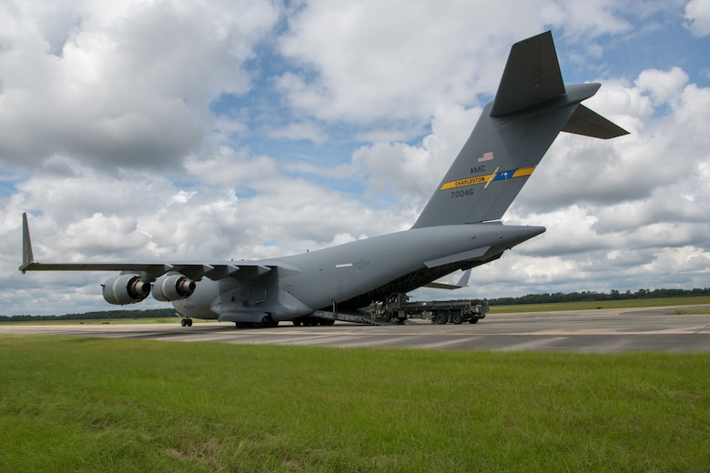 Reservists from the 315th Airlift Wing, Joint Base Charleston, S.C., unload a C-17 Globemaster III during a readiness exercise September 10, 2020 here. The exercise is in preparation for future missions and helps airmen perform their duties in a live setting.
