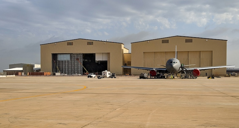 KC-46 corrosion control fuel hangar at Tinker Air Force Base, Oklahoma, a designated maintenance hub for the new refueling tanker. (U.S. Air Force photo)