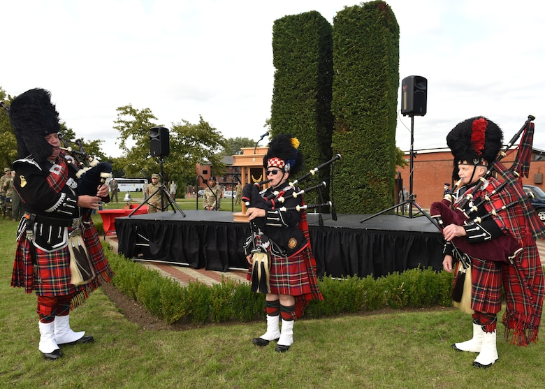 Bagpipers play during the 9/11 memorial ceremony at Royal Air Force Mildenhall, England, Sept. 11, 2020.