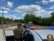Students of the Military Police Basic Course conduct a felony traffic stop in which they must remove and an armed and dangerous subject from their vehicle and take them into custody.