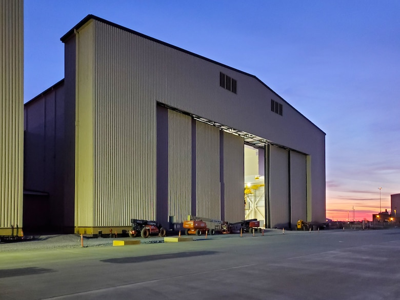 KC-46 depot maintenance hangar exterior at Tinker Air Force Base, Oklahoma. (U.S. Air Force photo)