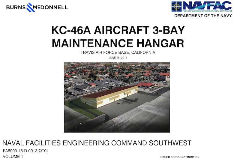 An artist rendering of the KC-46A aircraft three-bay maintenance hangar for Travis Air Force Base, California. (Courtesy graphic)