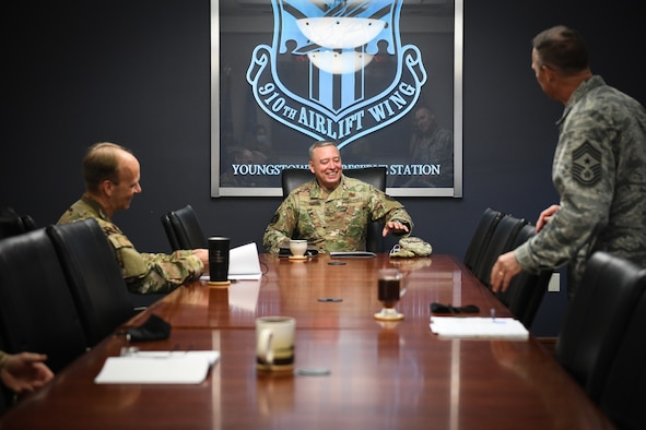 Brig. Gen. William Kountz, the director of logistics, engineering and force protection for Air Force Reserve Command, sits down for a conversation with Col. Joe Janik, the 910th Airlift Wing commander, and Chief Master Sgt. Christopher Williams, the 910th AW command chief,  Sept. 13, 2020, at Youngstown Air Reserve Station, Ohio.