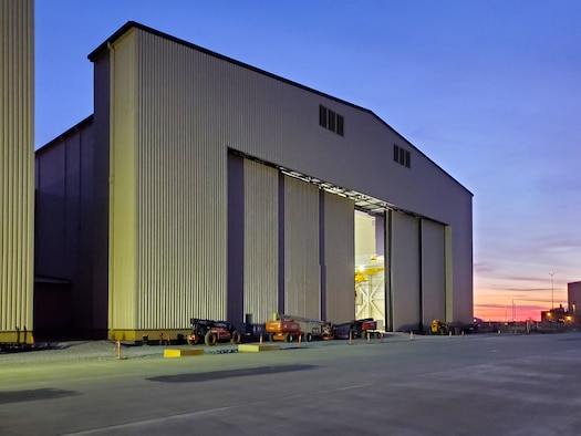 KC-46 depot maintenance hangar exterior at Tinker Air Force Base, Oklahoma. (U.S. Air Force photo)