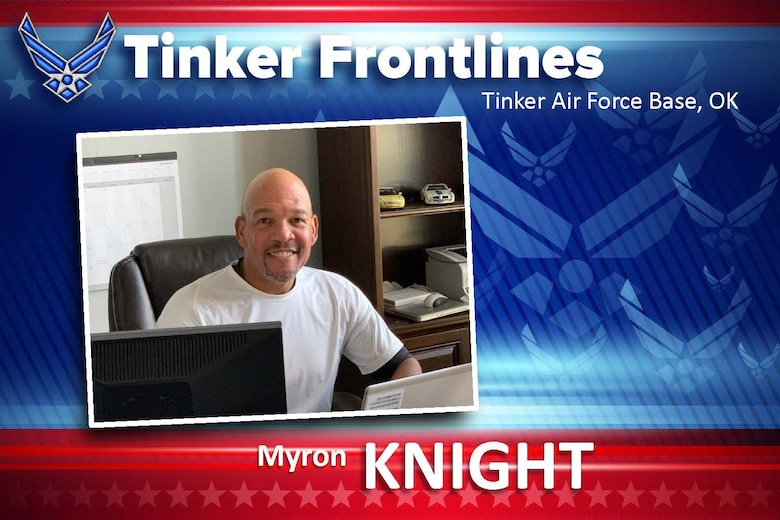 Graphic of Tinker Frontlines with photo of man in white shirt sitting at a desk behind a computer