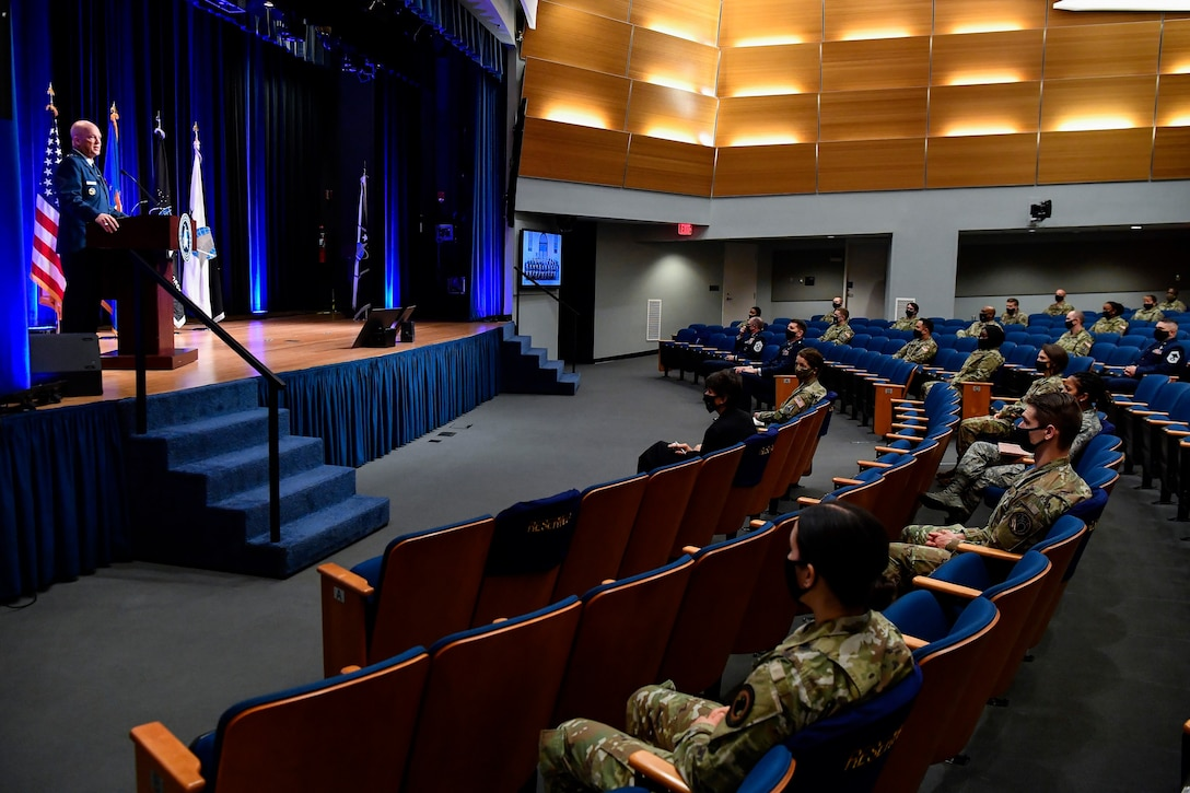 Chief of Space Operations Gen. John W. Raymond delivers remarks during a ceremony at the Pentagon transferring airmen into the U.S. Space Force, Arlington, Va., Sept. 15, 2020. About 300 airmen at bases worldwide, including 22 in the audience, transferred during the ceremony.