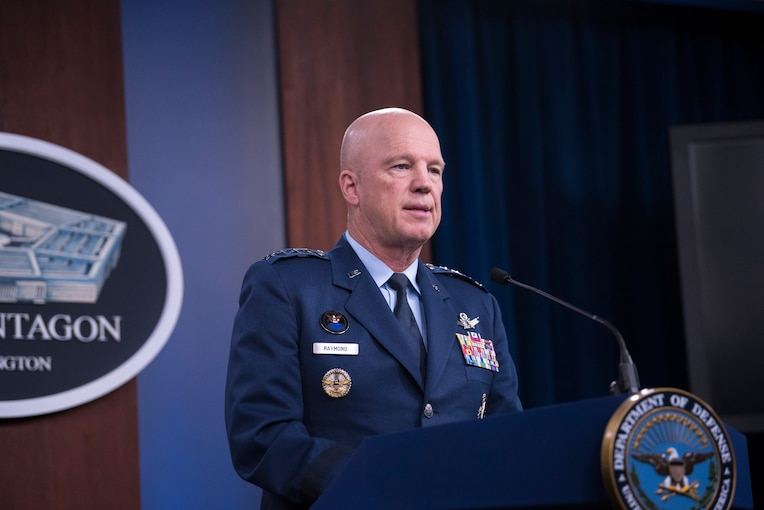 """Space Force Gen. John W. """"Jay"""" Raymond, the chief of space operations and commander of the U.S. Space Command, attends a virtual event with the National Defense University Foundation to discuss its mission, initiatives and national security, Oct. 27, 2020."""