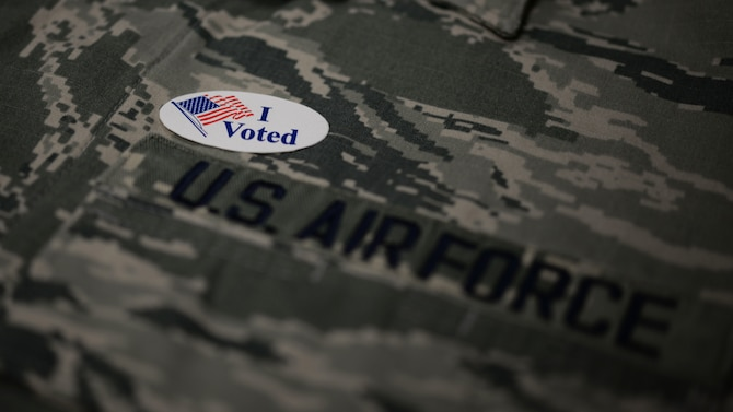 """An """"I voted"""" sticker is displayed on an U.S. Air Force uniform. Air Force members have the opportunity to vote regardless of location with the Federal Post Card Application. (Courtesy Photo)"""