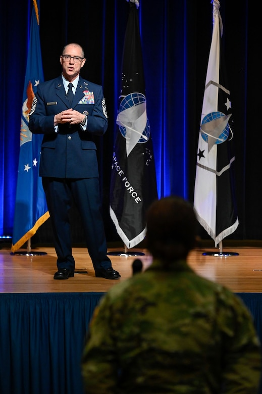 Chief Master Sgt. Roger A. Towberman, senior enlisted advisor of U. S. Space Force, delivers remarks after a ceremony at the Pentagon transferring airmen into the Space Force, Arlington, Va., Sept. 15, 2020. About 300 airmen at bases worldwide, including 22 in the audience, transferred during the ceremony.