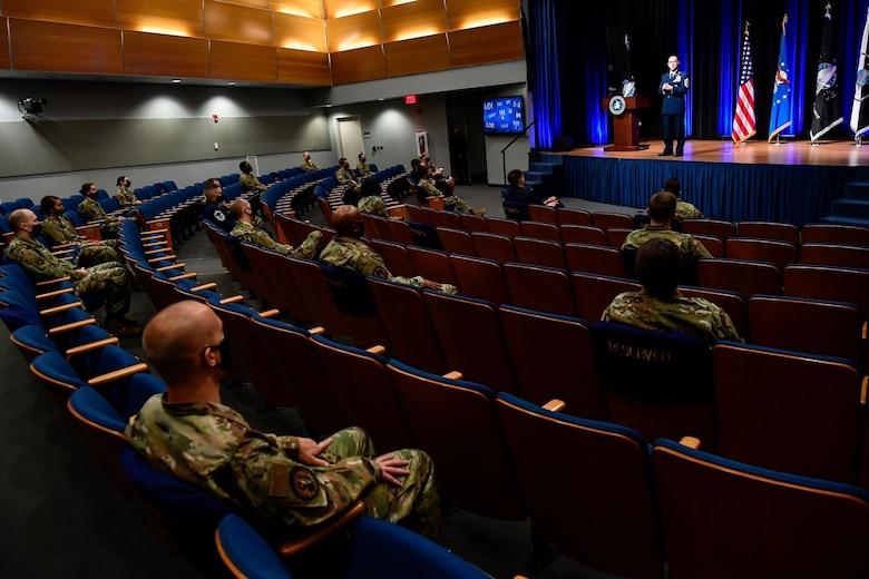 Chief Master Sgt. Roger A. Towberman, senior enlisted advisor of U. S. Space Force, delivers remarks after a ceremony at the Pentagon transferring airmen into the Space Force, Arlington, Va., Sept. 15, 2020. About 300 airmen at bases worldwide, including 22 in the audience, transferred during the ceremony. (U.S. Air Force photo by Eric R. Dietrich)