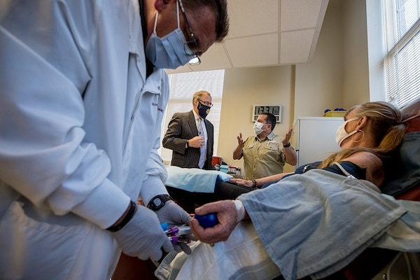 On a recent visit to Joint Base Lewis-McChord, Wash., Assistant Secretary of Defense for Health Affairs Thomas McCaffery made a special stop at the Armed Services Blood Bank Center - Pacific Northwest.