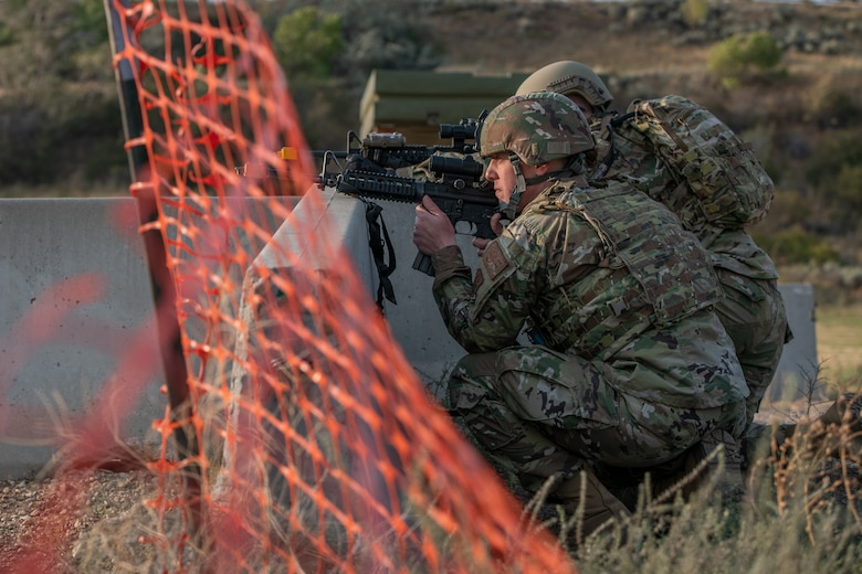 Reservists from the 419th Security Forces Squadron posts at a barrier during an exercise Sept. 13, 2020, at Hill Air Force Base, Utah.