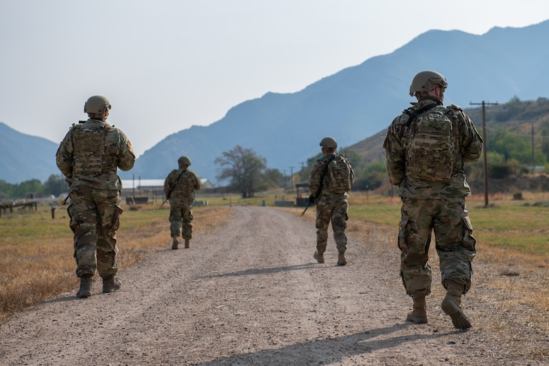 Reservists from the 419th Security Forces Squadron walks in formation during an exercise Sept. 13, 2020, at Hill Air Force Base, Utah.