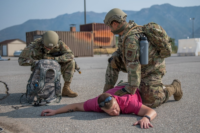 Reservists from the 419th Security Forces Squadron apprehend a suspect in an exercise during an exercise Sept. 13, 2020, on Hill Air Force Base, Utah