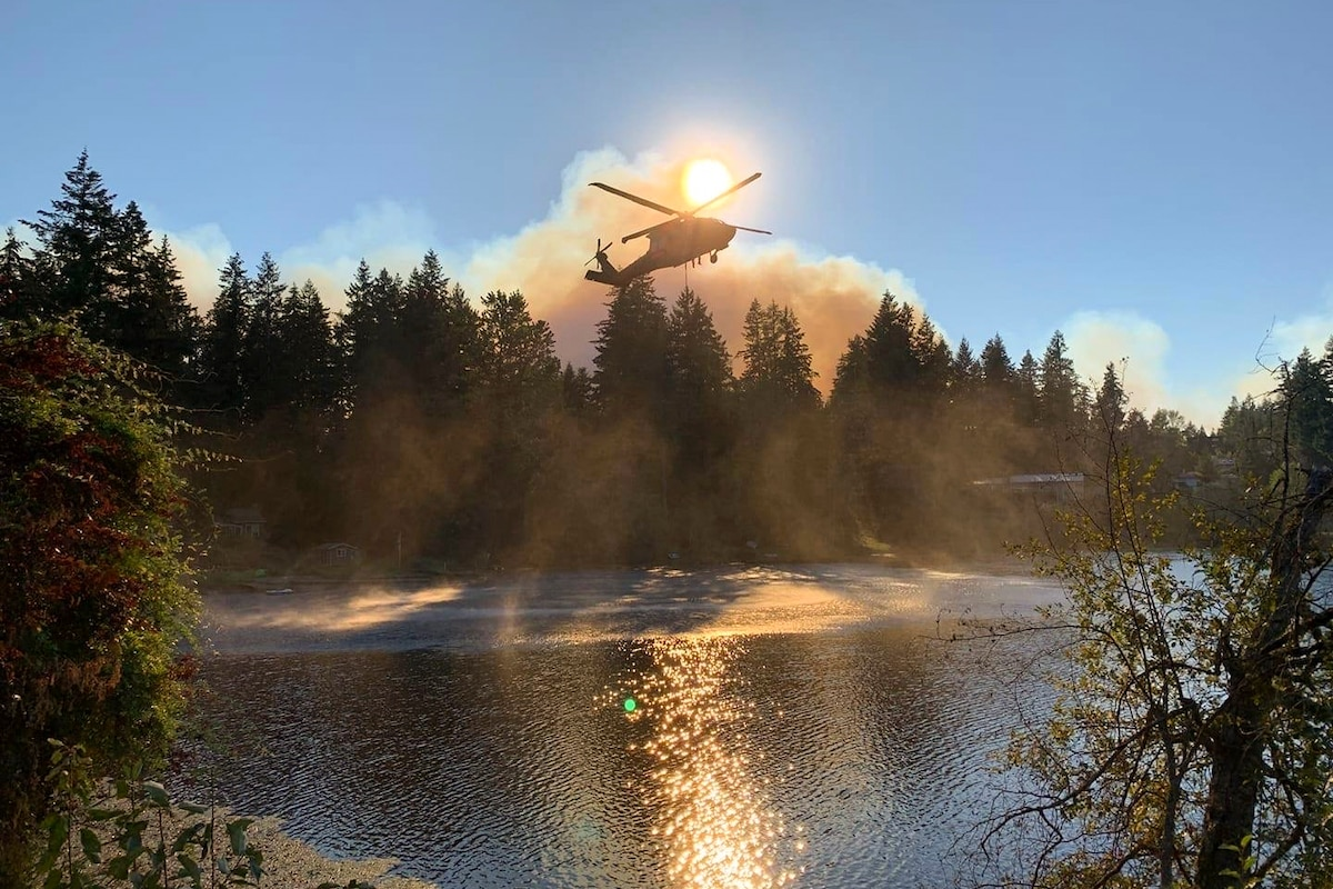 A helicopter puts water into a bucket from a lake in a forest.