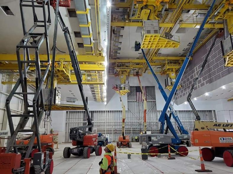 KC-46 depot maintenance hangar interior work at Tinker Air Force Base, Oklahoma, a designated maintenance hub for the new refueling tanker. (U.S. Air Force photo)