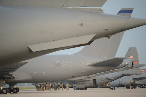 Iowa Air National Guard members from the 185th Air Refueling Wing board a U.S. Air Force C-130 Hercules from the Illinois Air National Guard's 182nd Airlift Wing in Sioux City, Iowa, Sept. 14, 2020, for a mobility training exercise.