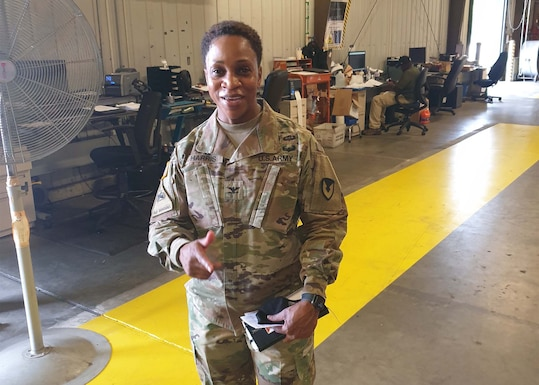 Army Col. Fredericka Harris, new commander 406th Army Field Support Brigade, visited the staff at the DLA Disposition Services' site at Fort Bragg, North Carolina, to discuss unit requirements and ways to optimize support.