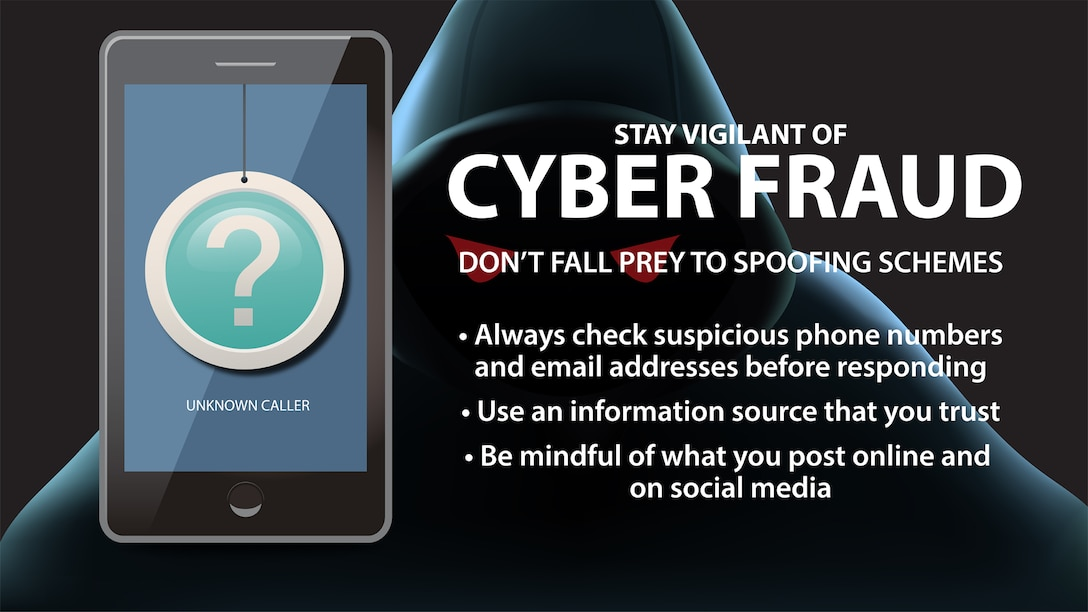"""Graphic shows a cell phone with a question mark over top of it and the words """"Cyber fraud"""""""