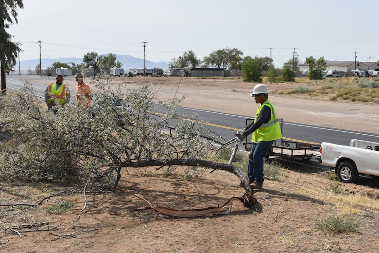 Stanley Hewlen, a base grounds maintenance contractor, drags a tree branch to be shredded.