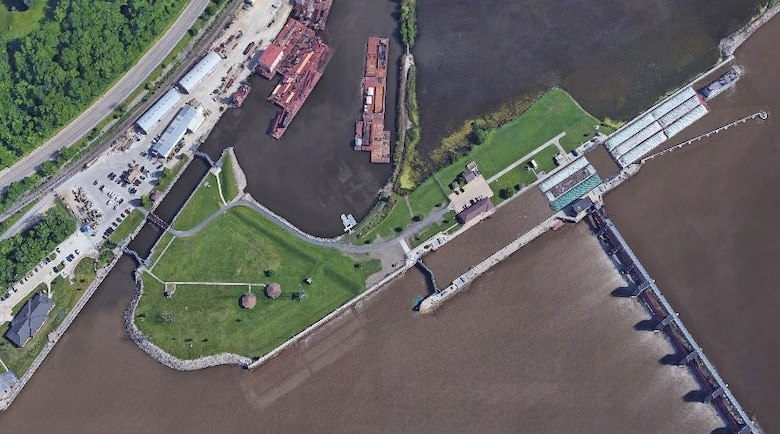 An aerial view of Locks and Dam 14 on the Mississippi River near LeClaire, Iowa.