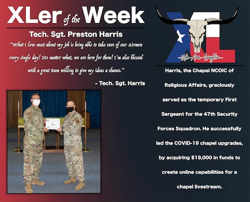 """Tech. Sgt. Preston Harris, 47th Chapel NCO in charge of religious affairs, was chosen by wing leadership to be the """"XLer of the Week"""", the week of Sept. 16, 2020, at Laughlin Air Force Base, Texas. The """"XLer"""" award, presented by Col. Craig Prather, 47th Flying Training Wing commander, is given to those who consistently make outstanding contributions to their unit and the Laughlin mission. (U.S. Air Force Graphic by Airman 1st Class David Phaff)"""
