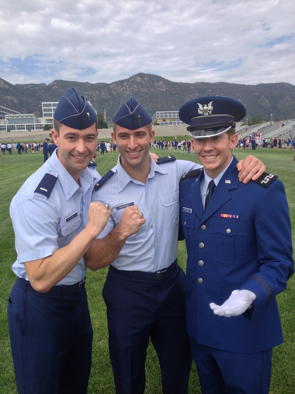 Brothers Austin, Connor and Lucas Mckinney spend time together at the Air Force Academy. Austin graduated in 2010, Connor graduated in 2013 and Lucas graduated in 2017. (Courtesy Photo)