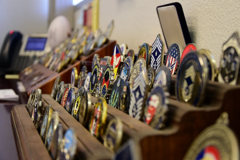A picture of military coins.