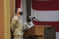 Lt. Col. Teresa Clements, deputy commander for First Army's 5th Armored Brigade, gives remarks during a Transfer of Authority ceremony at Fort Bliss, Texas, September 11, 2020.