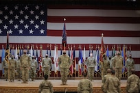 Army Reserve Soldiers conduct a Transfer of Authority ceremony at Fort Bliss, Texas, September 11, 2020.